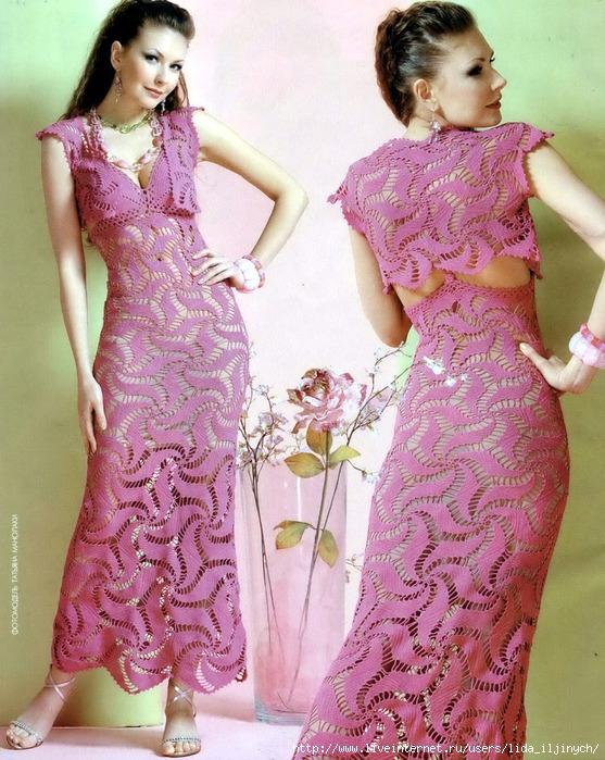Розовое платье крючком 557x700 336kb
