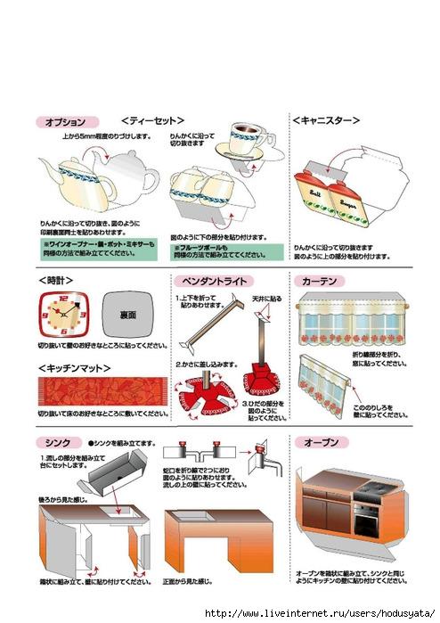 Выкройки первого бумажного домика - кухни.