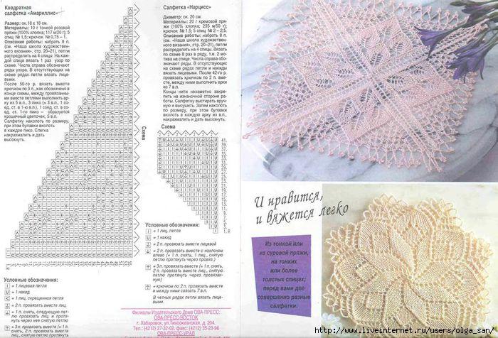 Скатерти вязанные на спицах с описаниями и схемами