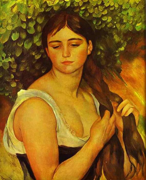 Pierre-Auguste Renoir - Girl Braiding Her Hair (Suzanne Valadon) (570x700, 114Kb)
