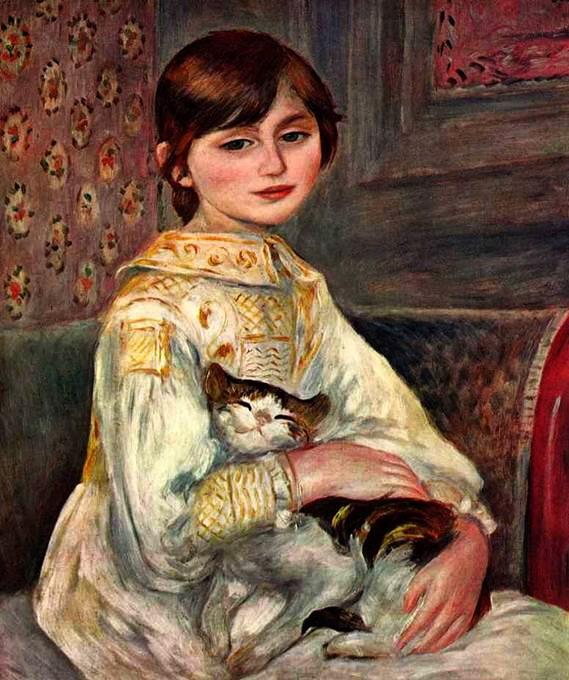 Мадмуазель Жюли Моне с кошкой 1887 (569x680, 108Kb)