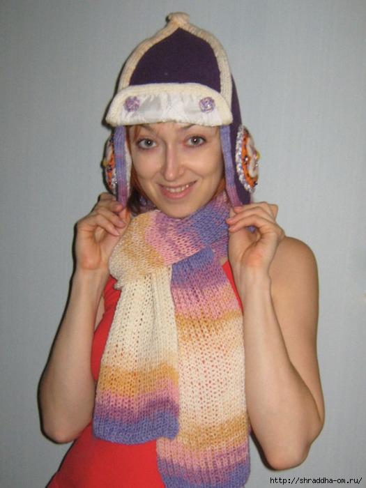 Зимняя шапка и шарф Сиреневый туман, hand made автор Shraddha, 1 (525x700, 204Kb)