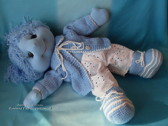 Авторская текстильная кукла. Голубое Чудо Голубой Долины. Елена Герасенкова
