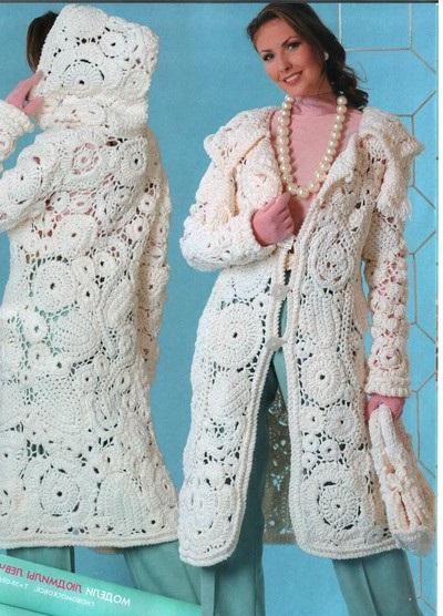 Схема вязания пальто крючком.