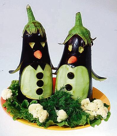 Поделки из овощей и фруктов пингвин