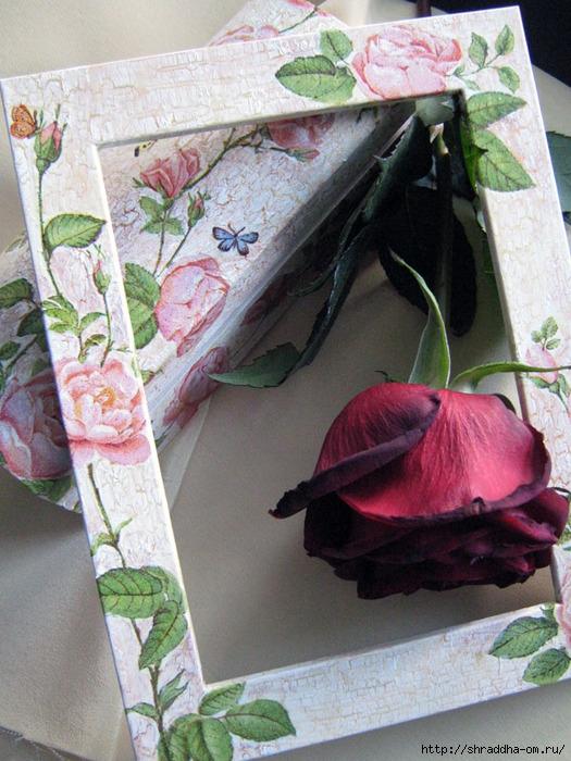 шкатулка и рамка Свадебный букет, автор Shraddha, акрил, декупаж, кракелюр (2) (525x700, 295Kb)
