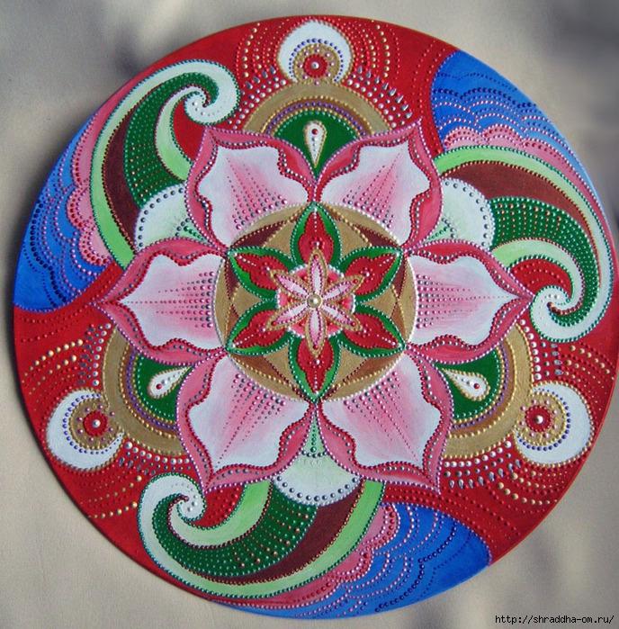 сердечная мандала, автор Shraddha, роспись акрилом (0) (688x700, 482Kb)