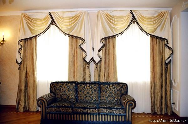 А что, очень даже красиво и стильно это будет смотреться в богатых домах... не знаю...я люблю шторы с ламбрекенами...