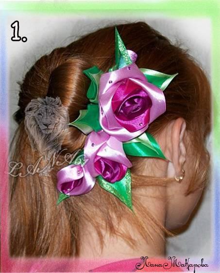 Розы из атласных лент.  Подробный фото мастер-класс. http...