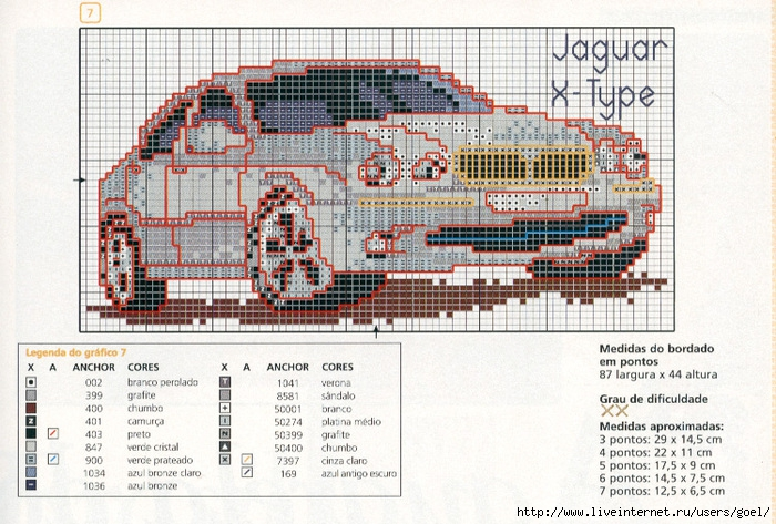 Вышивка крестом схема машина