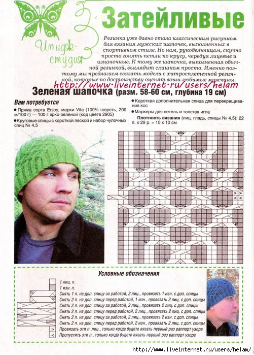 Вязание для мужчин спицами шапки 59