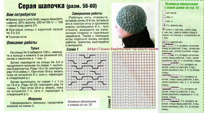 Вязание для мужчин спицами шапки 27