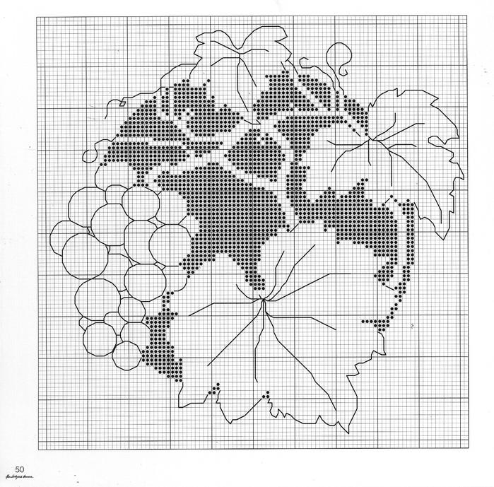 Вышивка крестом монохромная цветы