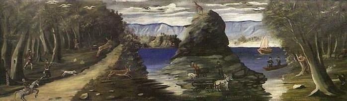 Niko-Pirosmani-Охота-и-вид-на-Черное-море.-1912-Клеенка-масло-105x358-ГМИ-Грузии-Тбилиси- (700x205, 49Kb)