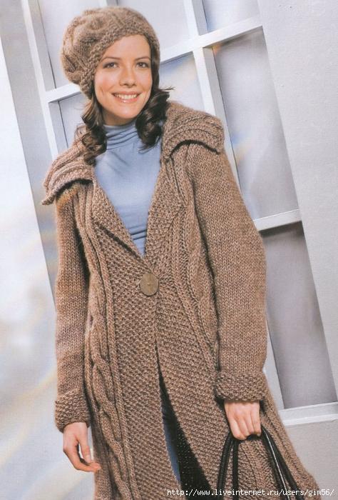 021 Шоколадная пара: пальто и шапочка.  Описание работы и схемы.