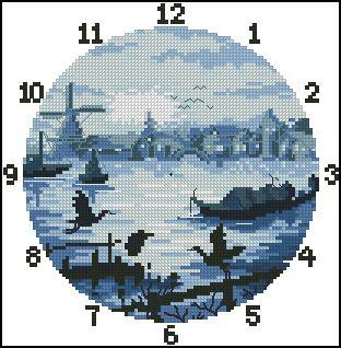 """Схема вышивки  """"Часы """": таблица цветов."""