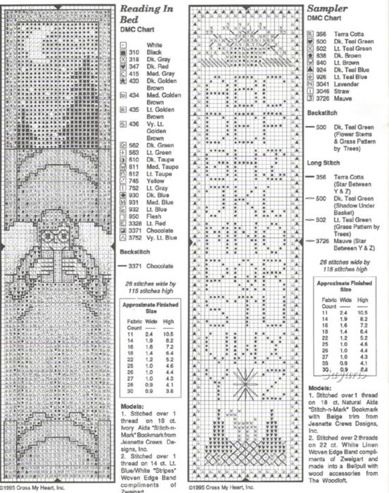 Схема для вышивания крестом: Закладки для книг.