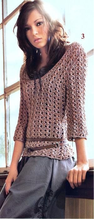 Схема вязания женского свитера из шерсти.