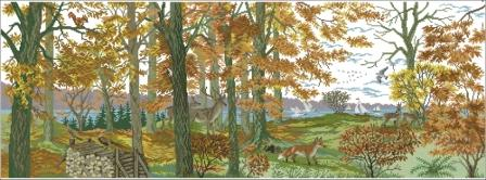 Eva Rosenstand Autumn scene(backstitch) (448x166, 25Kb)
