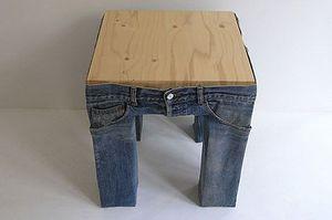 Модный табурет в джинсах.