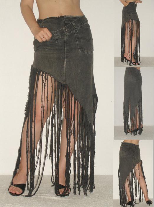 Джинсы превращаются в новую юбку. di cherry. юбка из старых джинс.