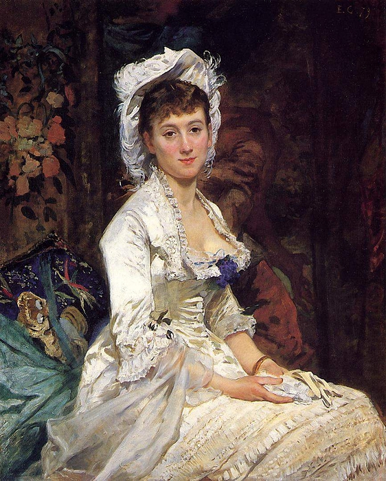 Eva Gonzales (1849 – 1883, French) - Portrait of a Woman in White (562x700, 373Kb)