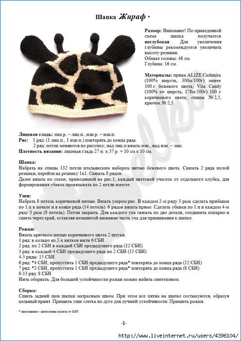 Часть 10.  Шапочка Жираф от GAP.  Схемы и описание составила belochka.  Прочитать целикомВ.