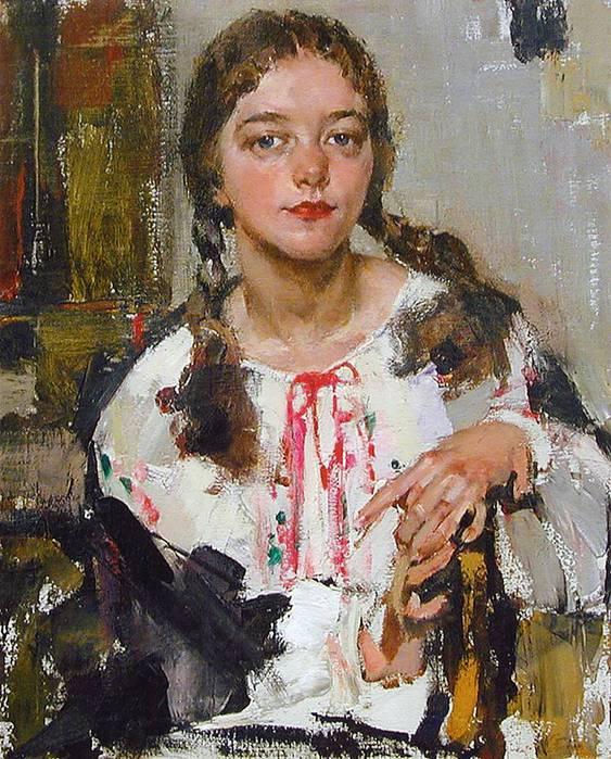 Николай Фешин (1881-1955).Портрет Ии в крестьянской блузе.