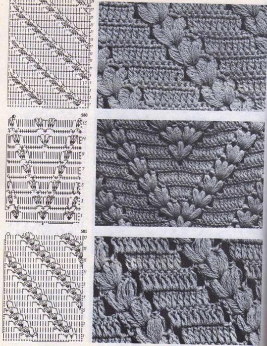 рельефные узоры крючком