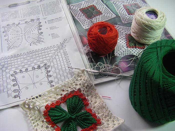 钩针:新年的餐巾垫 - maomao - 我随心动