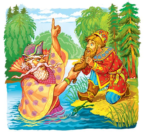 Морской царь и Василиса Премудрая в иллюстрациях Виктора Служаева.