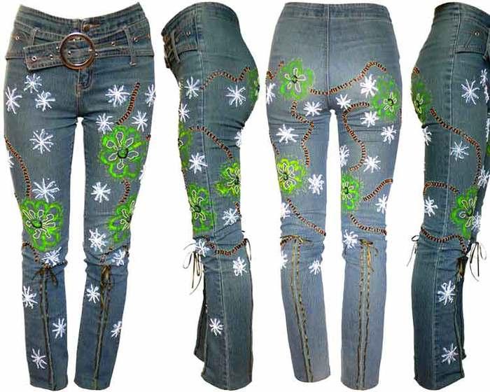 как украсить джинсовую сумку вышивкой.