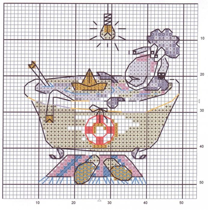 Вышивка крестом для ванны и туалета 17
