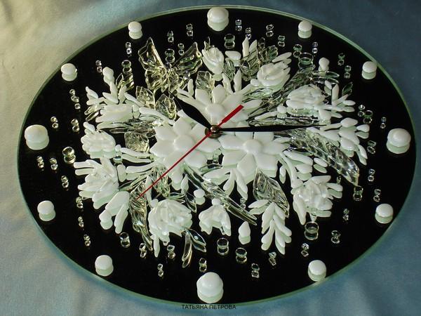 643. часы ХРУСТАЛЬНАЯ НЕЖНОСТЬ, стекло, зеркало, ручная работа на заказ (600x450, 96Kb)