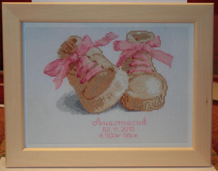 Вышивка метрики на рождение ребенка