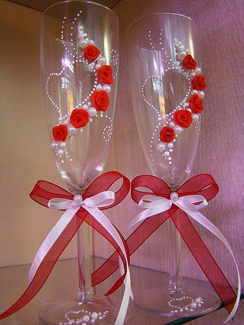 Как украсить фужер на свадьбу своими руками