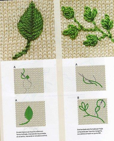 Вышивка на вязаных изделиях. схемы 667