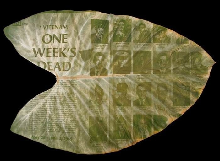 Очень необычные фотографии людей напечатанные на листьях