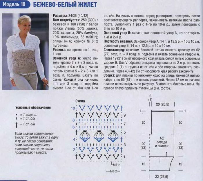 Описание и схемы жилетов с пуговицами на боках