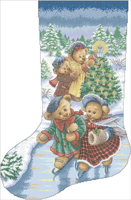 Вышивка крестом рождественские сапожки схемы