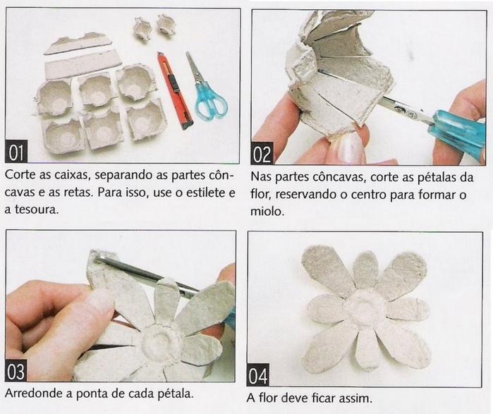 Как сделать из яичных ячеек своими руками