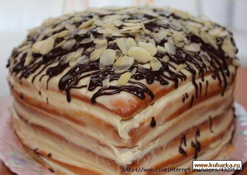 Торт из готового бисквита со сметанным кремом
