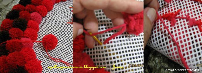 Как сделать коврик своими руками из помпонов