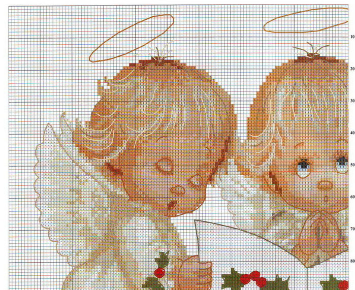 Ангелы три вышивка крестом 974