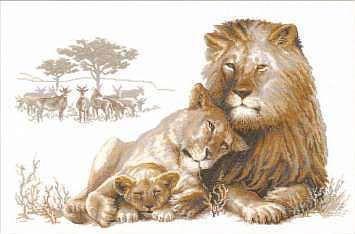 Вышивки гладью львов