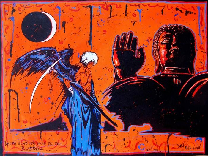 Яркий сюрреализм в искусстве Эда Нэроу (Ed Narrow) - Death Bows Its Head to the Buddha (700x523, 168Kb)