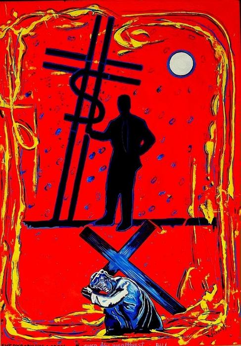 Яркий сюрреализм в искусстве Эда Нэроу (Ed Narrow) - Everybody has a cross -ed (487x700, 315Kb)