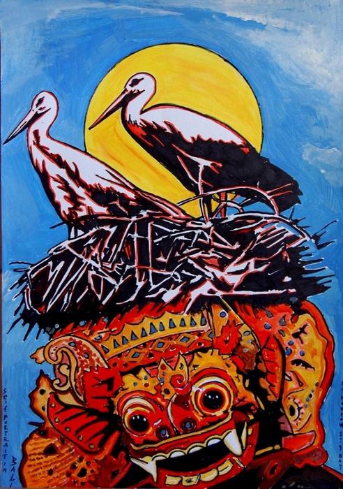 Яркий сюрреализм в искусстве Эда Нэроу (Ed Narrow) - selfportrait in bali (492x700, 339Kb)