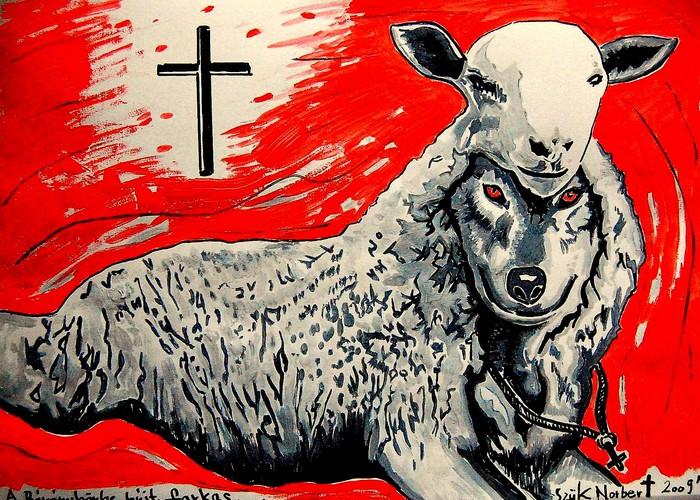 Яркий сюрреализм в искусстве Эда Нэроу (Ed Narrow) - wolf and sheep (700x500, 208Kb)