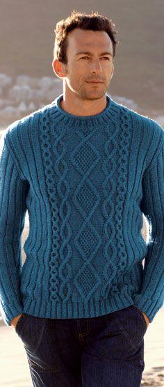 Голубой мужской джемпер с ромбами (236x556, 27Kb)